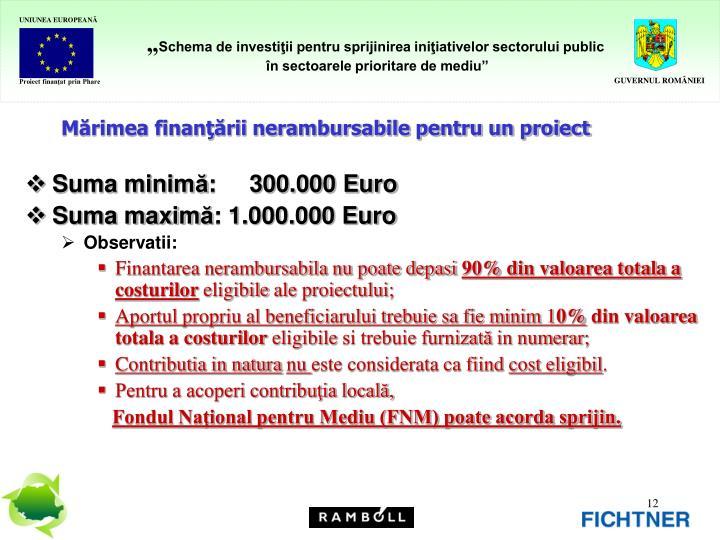 Mărimea finanţării nerambursabile pentru un proiect