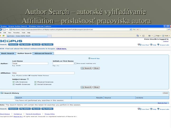 Author Search – autorské vyhľadávanie