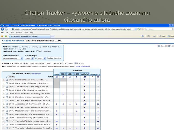 Citation Tracker – vytvorenie citačného zoznamu citovaného autora