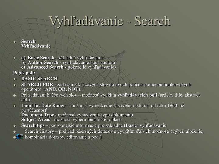 Vyhľadávanie - Search