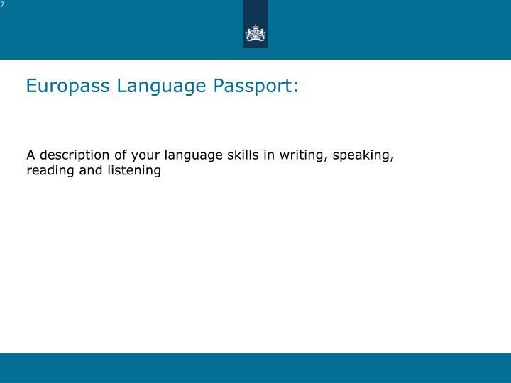 Europass Language Passport:
