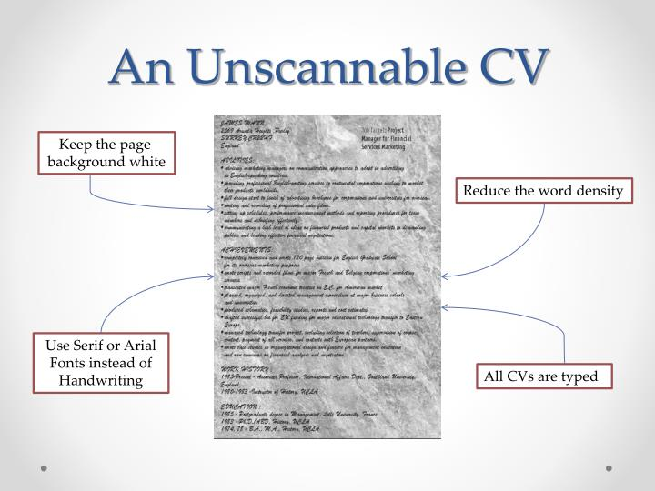 An Unscannable CV