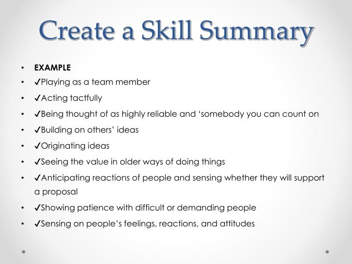 Create a Skill Summary