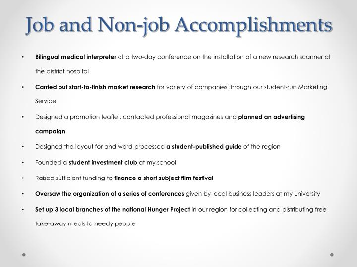 Job and Non-job Accomplishments