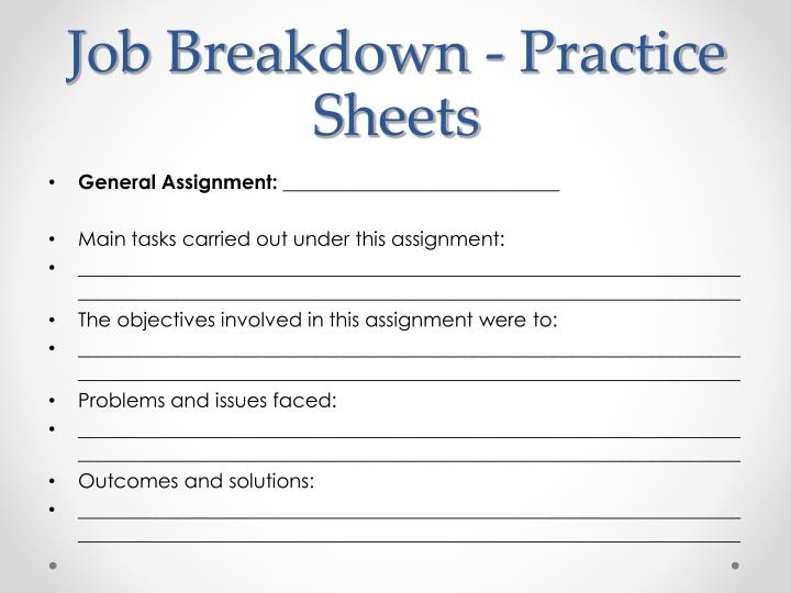 Job Breakdown - Practice Sheets
