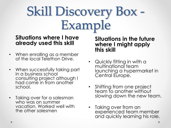 Skill Discovery Box - Example