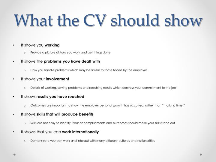 What the cv should show