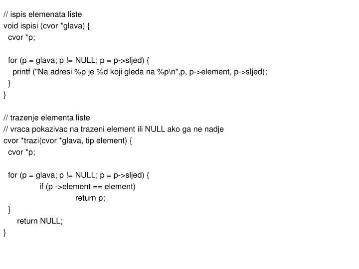 // ispis elemenata liste