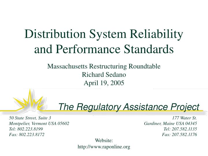 Distribution System Reliability and Performance Standards
