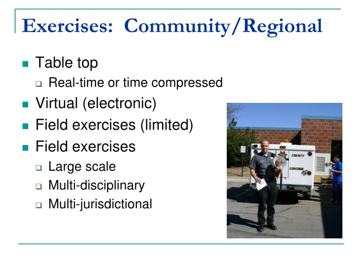 Exercises:  Community/Regional
