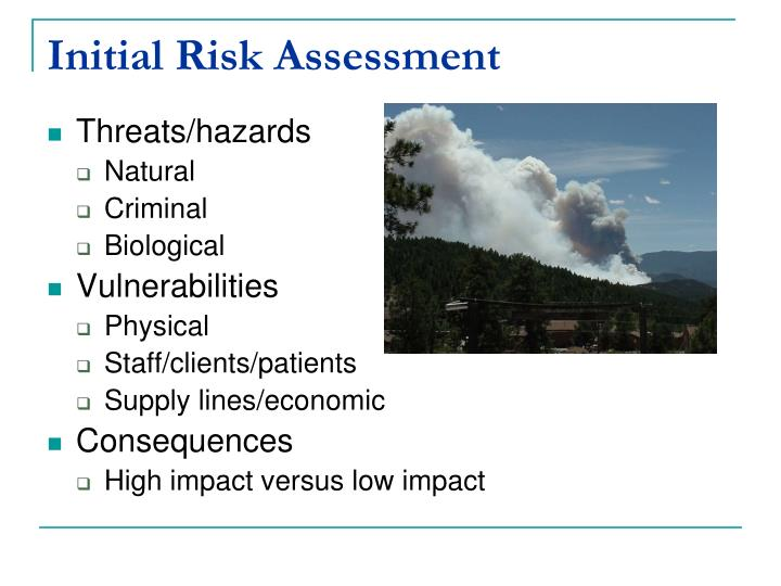 Initial Risk Assessment