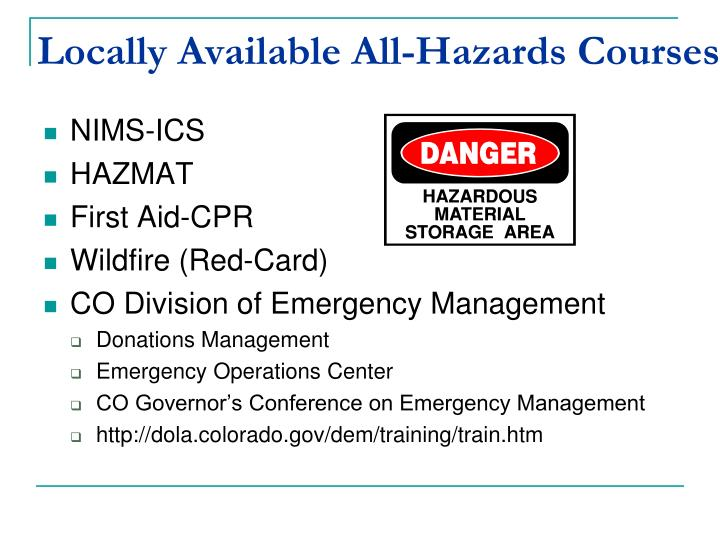 Locally Available All-Hazards Courses