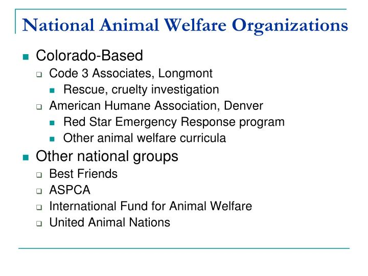 National Animal Welfare Organizations