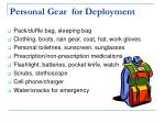 personal gear for deployment