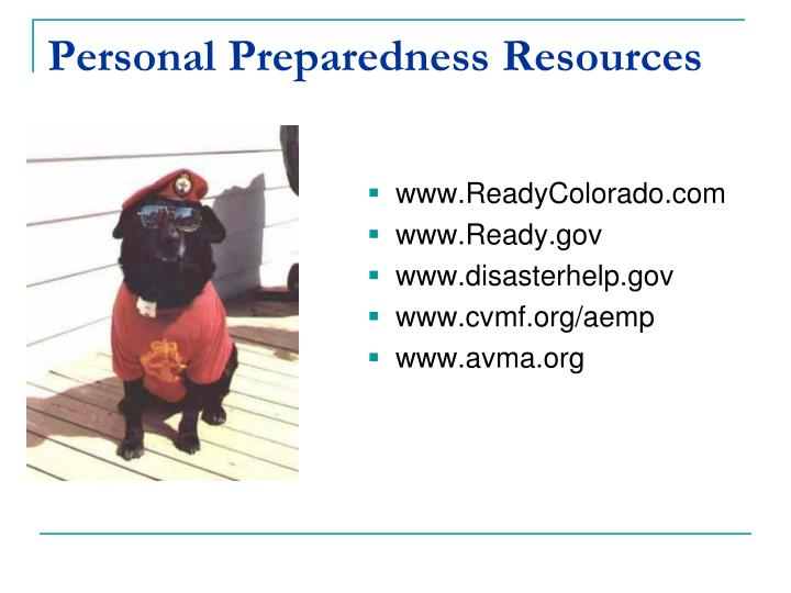 Personal Preparedness Resources