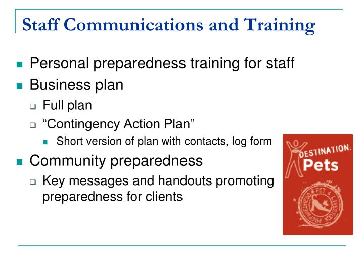 Staff Communications and Training