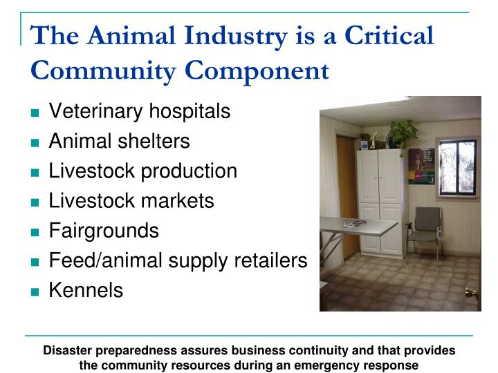 The Animal Industry is a Critical Community Component