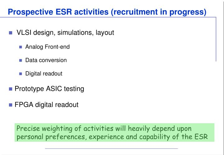 Prospective ESR activities (recruitment in progress)