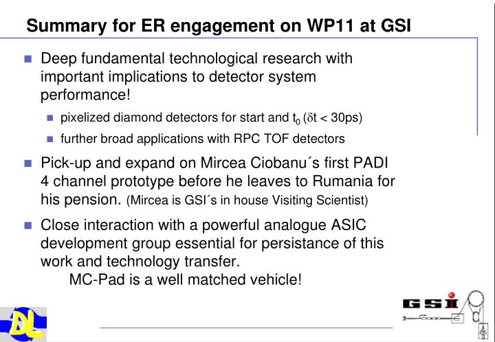 Summary for ER engagement on WP11 at GSI