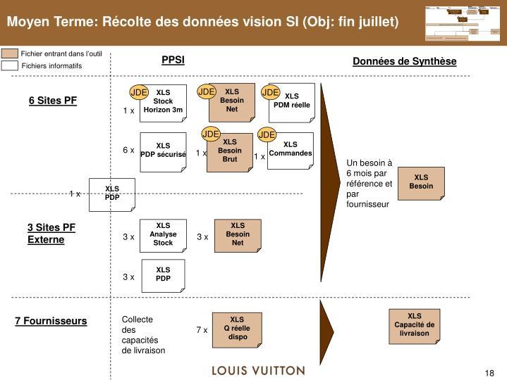 Moyen Terme: Récolte des données vision SI (Obj: fin juillet)