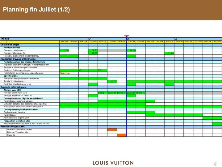 Planning fin Juillet (1/2)