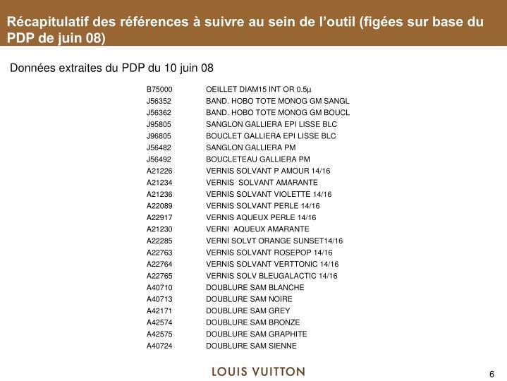 Récapitulatif des références à suivre au sein de l'outil (figées sur base du PDP de juin 08)