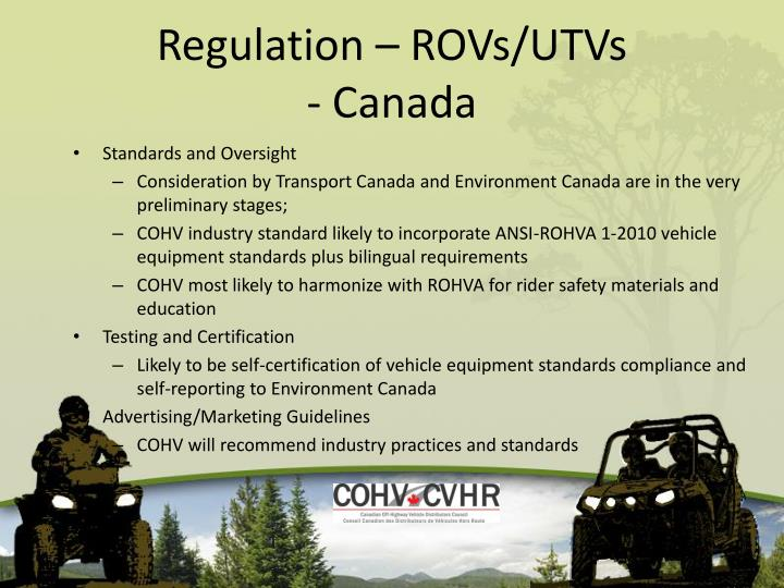 Regulation – ROVs/UTVs