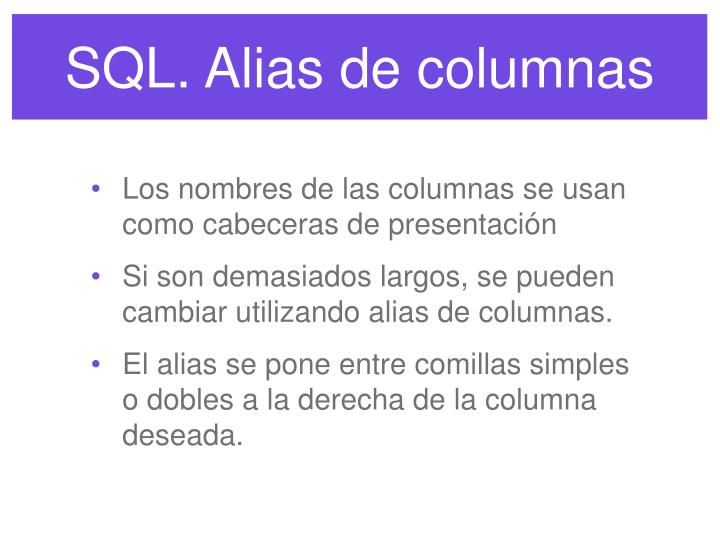 SQL. Alias de columnas