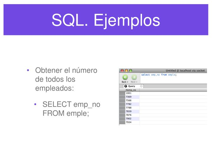 SQL. Ejemplos
