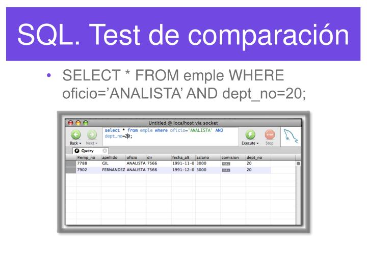 SQL. Test de comparación