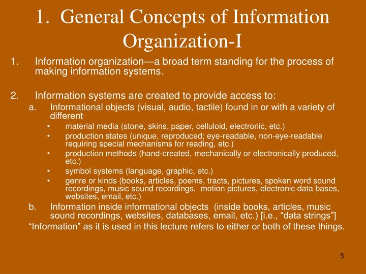 1 general concepts of information organization i