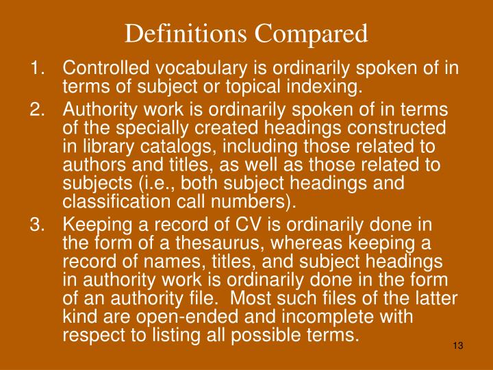 Definitions Compared