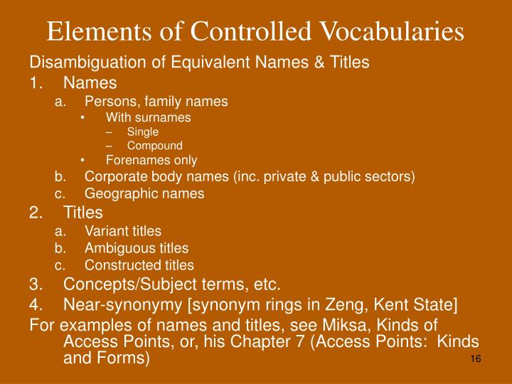 Elements of Controlled Vocabularies