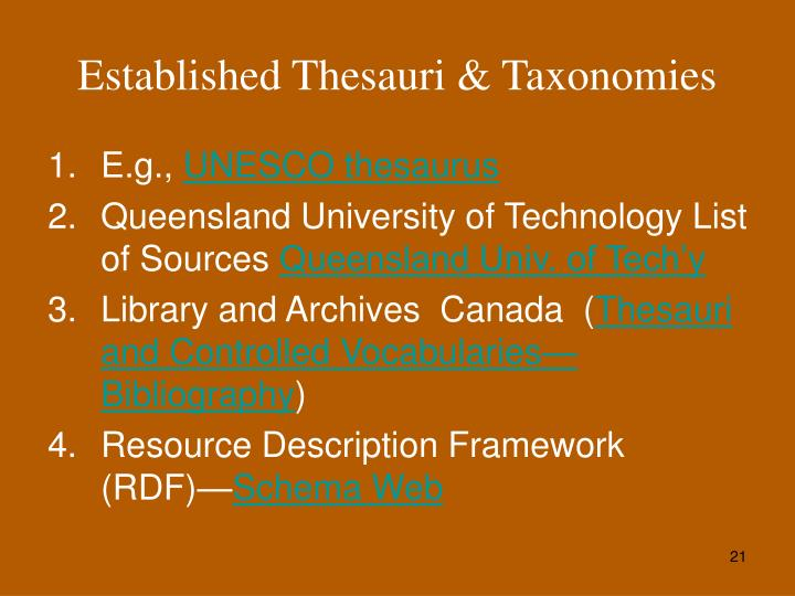 Established Thesauri & Taxonomies