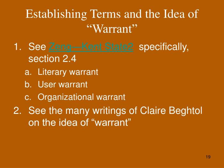 "Establishing Terms and the Idea of ""Warrant"""