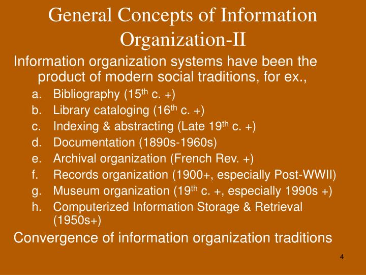 General Concepts of Information Organization-II
