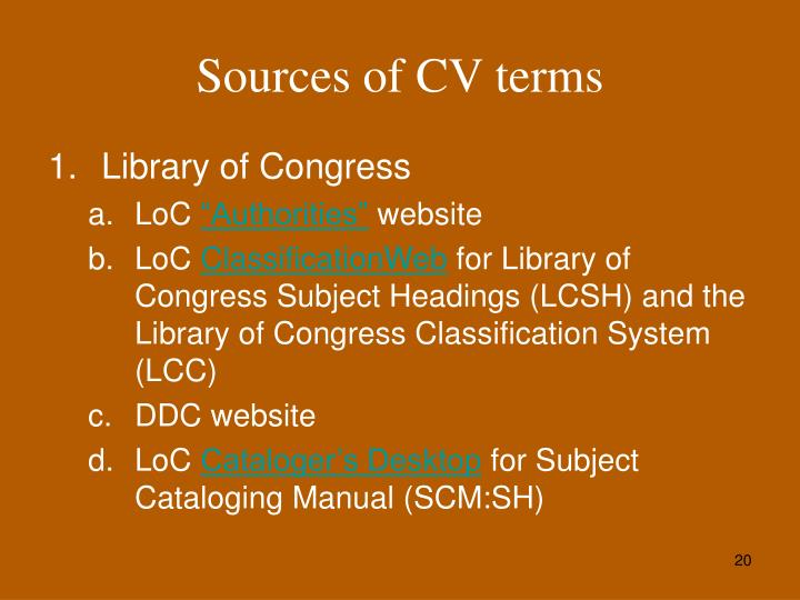 Sources of CV terms