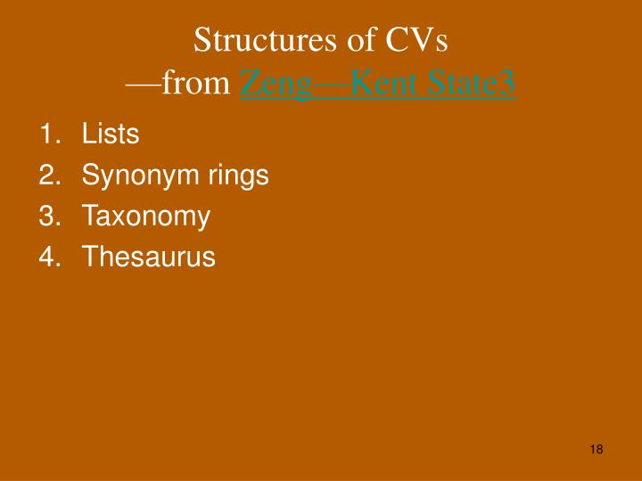 Structures of CVs