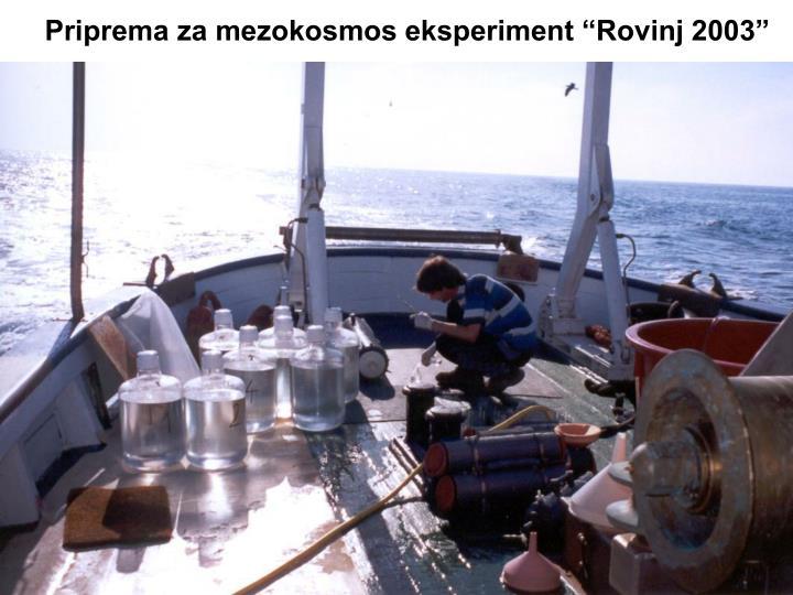 """Priprema za mezokosmos eksperiment """"Rovinj 2003"""""""