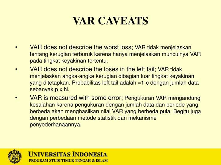 VAR CAVEATS