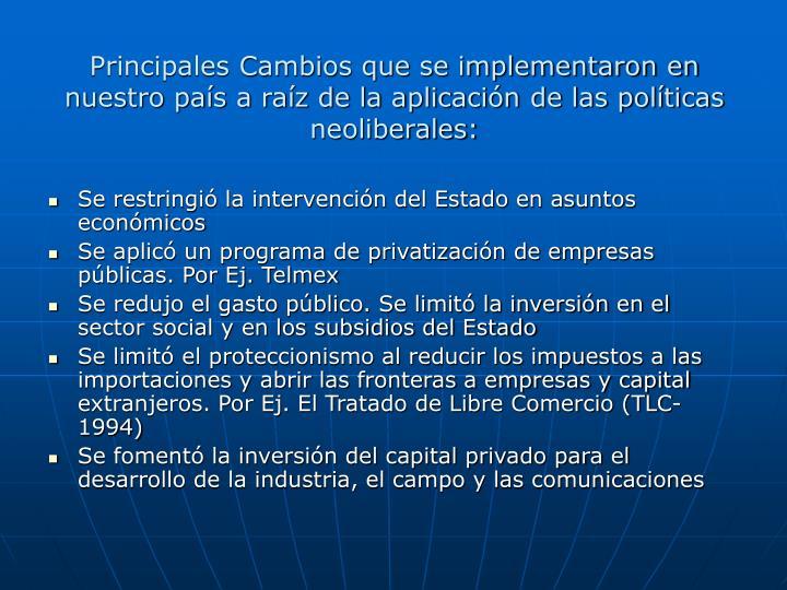 Principales Cambios que se implementaron en nuestro pas a raz de la aplicacin de las polticas neoliberales: