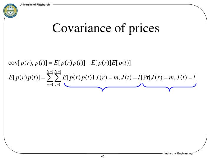 Covariance of prices