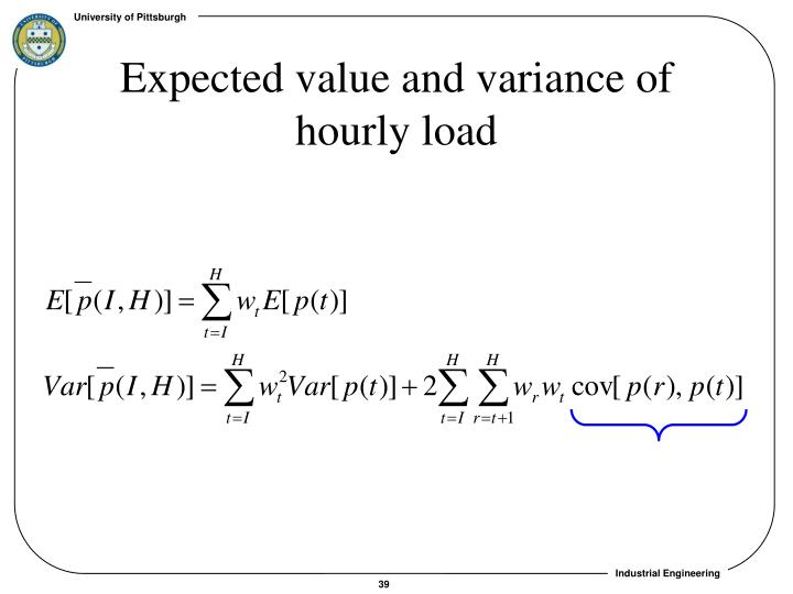 Expected value and variance of hourly load