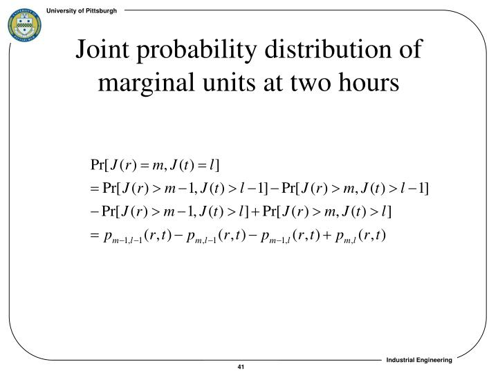 Joint probability distribution of marginal units at two hours