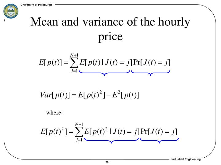 Mean and variance of the hourly price