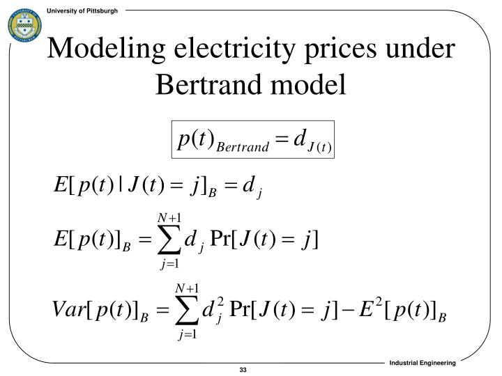Modeling electricity prices under Bertrand model