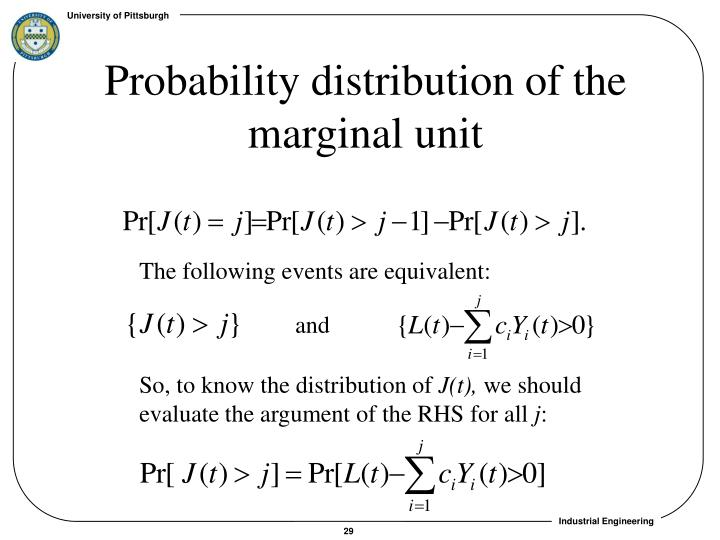 Probability distribution of the marginal unit