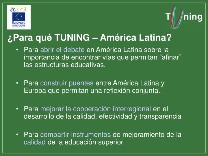 ¿Para qué TUNING – América Latina?