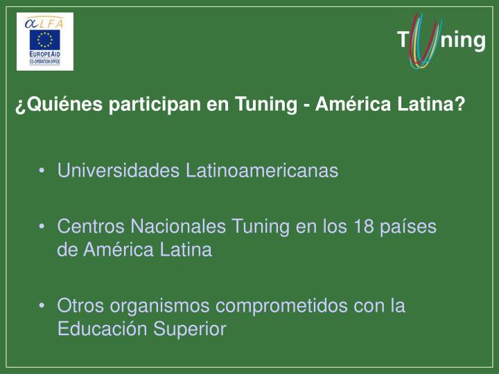¿Quiénes participan en Tuning - América Latina?