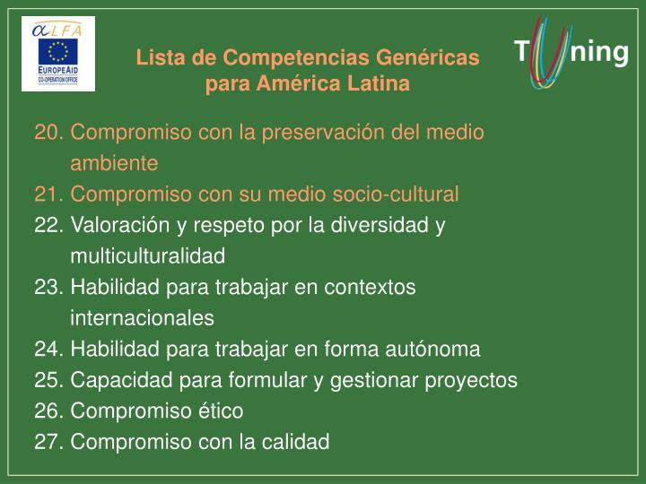 Lista de Competencias Genéricas para América Latina